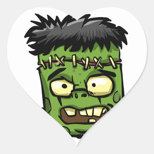 Baby frankenstein - baby frank - frank face heart sticker