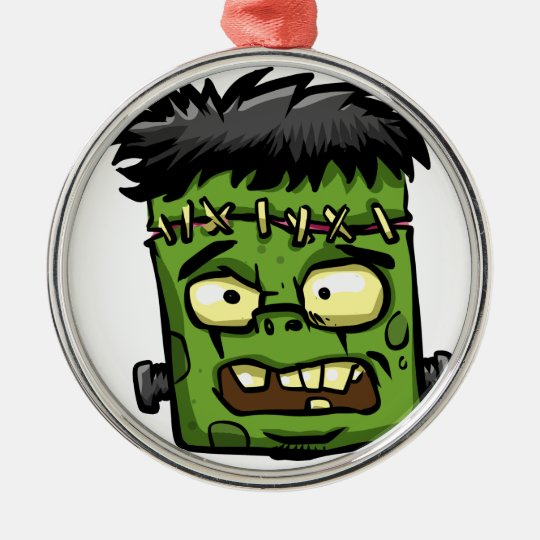 Baby frankenstein - baby frank - frank face metal ornament