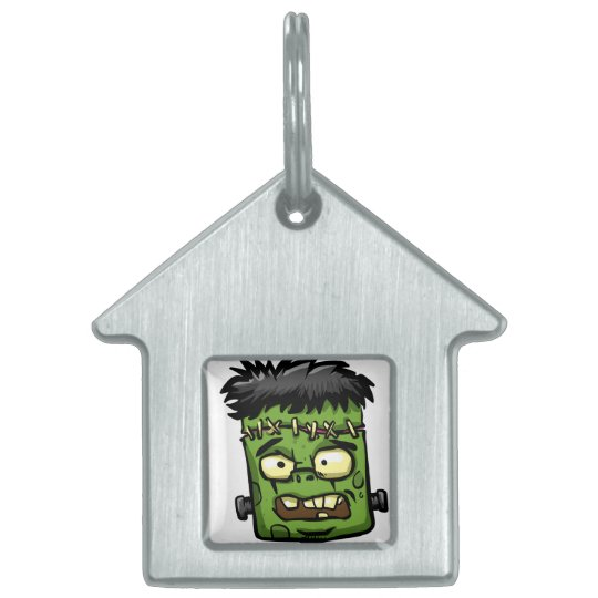 Baby frankenstein - baby frank - frank face pet name tag