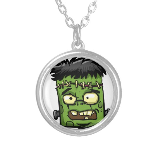Baby frankenstein - baby frank - frank face silver plated necklace