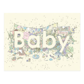 Baby Funny Colourful Word Art Design Postcard