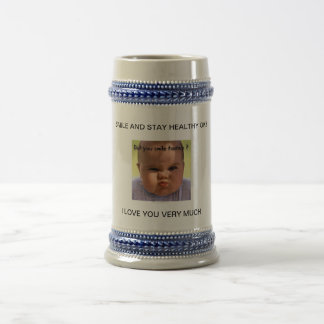 Baby Funny Face on Steins 18 Oz Beer Stein