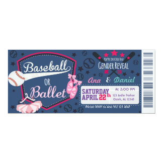 Baby gender reveal - Baseballs or Ballet Card