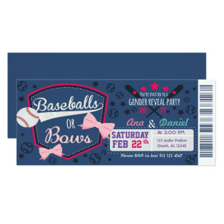 Baby gender reveal - Baseballs or Bows Card