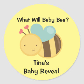 Baby Gender Reveal Bee Theme Classic Round Sticker