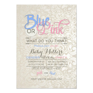 Baby Gender Reveal Party Satin Damask Card
