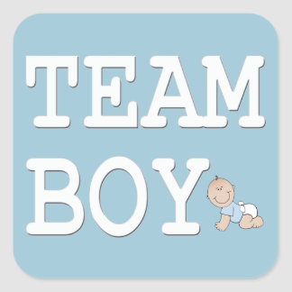 Baby Gender Reveal Party Sticker, Team Boy Square Sticker
