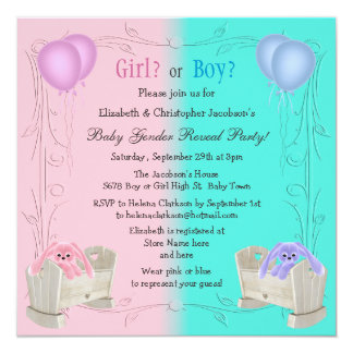 """Baby Gender Reveal Pink & Blue Bunnies in Cribs 5.25"""" Square Invitation Card"""