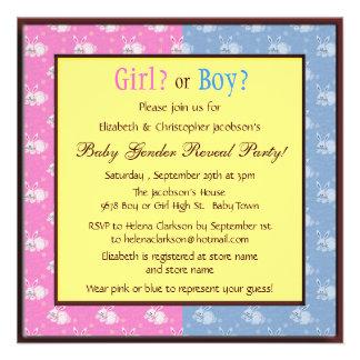 Baby Gender Reveal Pink Blue Bunnies Invitations