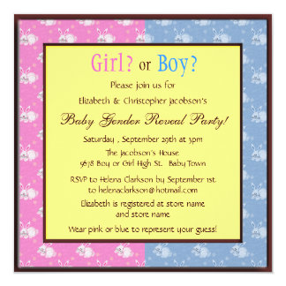 """Baby Gender Reveal Pink & Blue Bunnies 5.25"""" Square Invitation Card"""