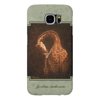 Baby Giraffe and Mom Green Samsung Galaxy S6 Cases