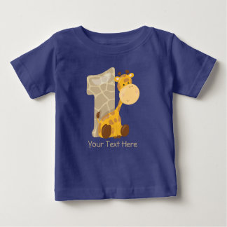 Baby Giraffe and Number One | Personalised Baby T-Shirt