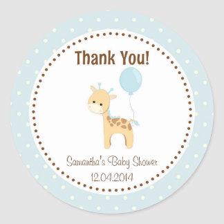 Baby Giraffe Baby Shower Sticker Blue