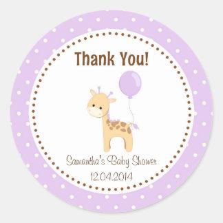 Baby Giraffe Baby Shower Sticker Purple