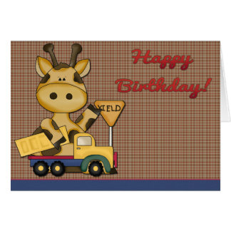 Baby Giraffe Boy Birthday Card