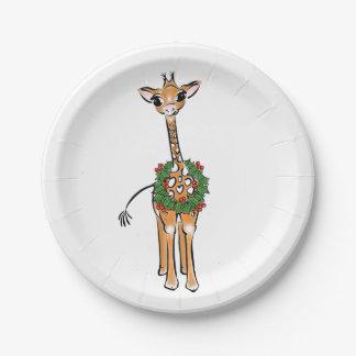 Baby Giraffe- holly wreath Paper Plate