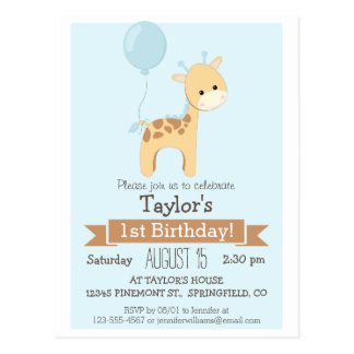 Baby Giraffe Kid's Birthday Party Invitation Postcards