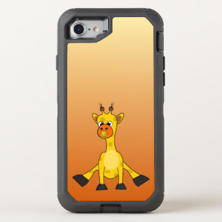 Baby giraffe on gradient orange background OtterBox defender iPhone 8/7 case