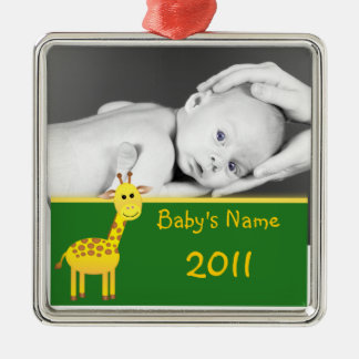 Baby Giraffe/photo Metal Ornament