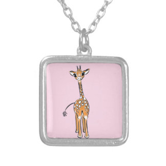 Baby Giraffe - pink Silver Plated Necklace