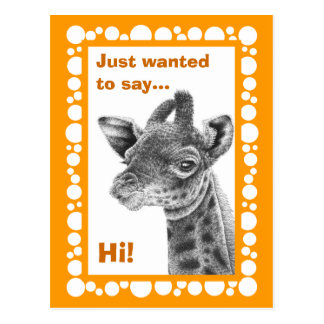 Baby Giraffe Retro Circles Postcard