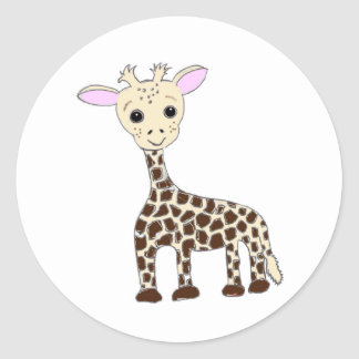 Baby Giraffe Round Sticker