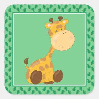 Baby Giraffe   Safari Animals Party Square Sticker