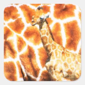 Baby Giraffe Square Sticker
