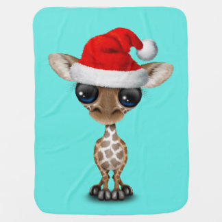 Baby Giraffe Wearing a Santa Hat Baby Blanket