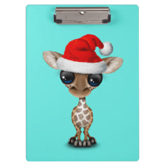Baby Giraffe Wearing a Santa Hat Clipboard