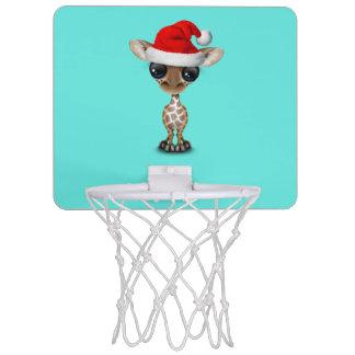 Baby Giraffe Wearing a Santa Hat Mini Basketball Hoop