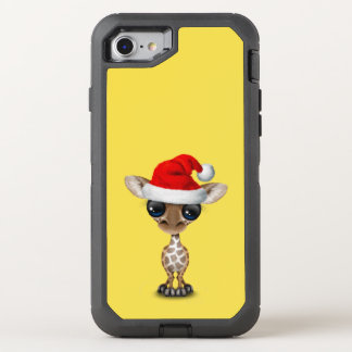 Baby Giraffe Wearing a Santa Hat OtterBox Defender iPhone 8/7 Case
