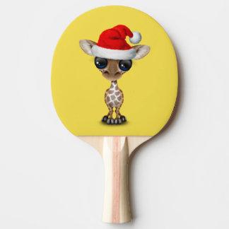 Baby Giraffe Wearing a Santa Hat Ping Pong Paddle