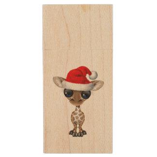 Baby Giraffe Wearing a Santa Hat Wood USB Flash Drive