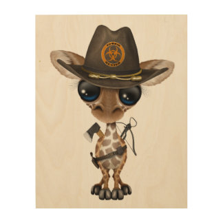 Baby Giraffe Zombie Hunter Wood Wall Art