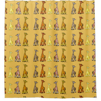 Baby Giraffes In A Row Shower Curtains