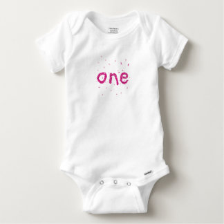Baby Girl 1st Birthday ONE Pink Glitter Bodysuit