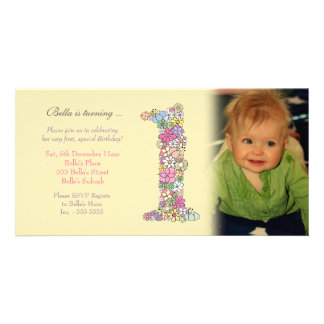 Baby Girl 1st Birthday Party Invite Photo Card