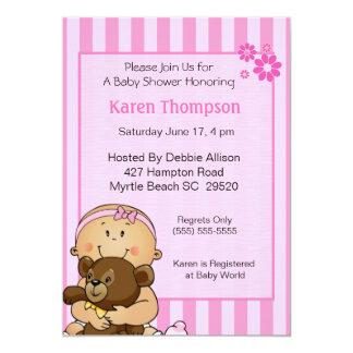 Baby Girl and Bear  Shower  Invitation