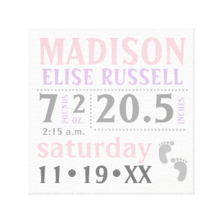 Baby Girl Announcement, pink, purple, grey Canvas Print
