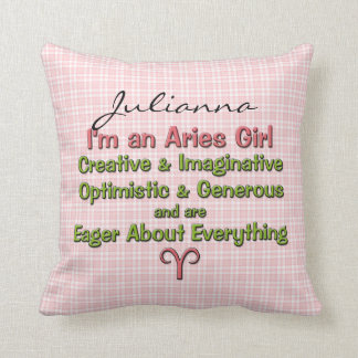 Baby Girl Aries Zodiac Personalized Pillow Cushions