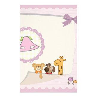 Baby Girl Baby Animals Baby Shower Custom Stationery