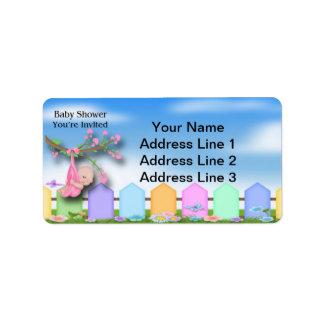 Baby Girl - Backyard Baby Shower Address Labels