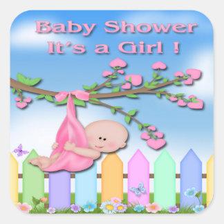 Baby Girl - Backyard Baby Shower Envelope Seal Square Sticker