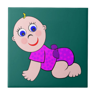 Baby Girl Bald Ceramic Tile