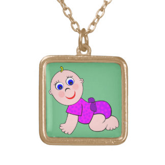 Baby Girl Bald Gold Plated Necklace