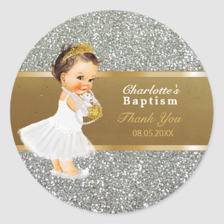Baby Girl Baptism Thank You  Favor | Gold Silver Classic Round Sticker
