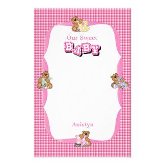 Baby Girl Bear Scrapbooking Stationery