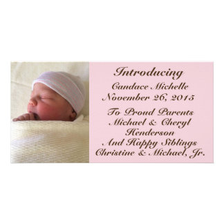 Baby Girl Birth Announcement Brown Font on Pink Custom Photo Card