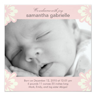 Baby Girl Birth Announcement - Floral Corners